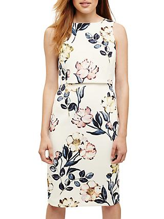 Phase Eight Peony Floral Print Dress, Cream/Multi