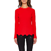 Buy Ted Baker Bobbe Peplum Wool Blend Jumper, Bright Red Online at johnlewis.com