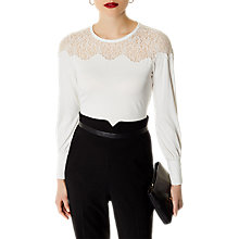 Buy Karen Millen Lace Yoke Jersey Top, Ivory Online at johnlewis.com