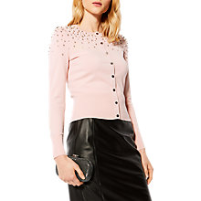 Buy Karen Millen Scattered Pearl Embellished Cardigan, Pink Online at johnlewis.com