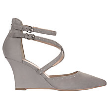 Buy Mint Velvet Leah Wedge Heeled Court Shoes, Light Grey Suede Online at johnlewis.com