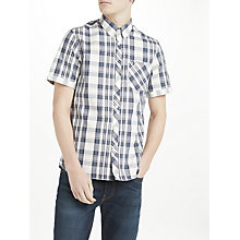 Buy Fred Perry Bold Short Sleeve Check Shirt, Ombre Blue Online at johnlewis.com