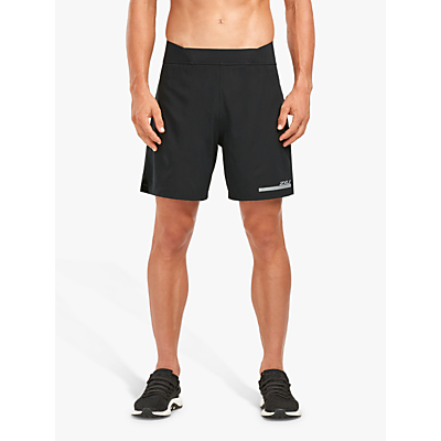 Image of 2XU Compression Double Layer 7 Inch Training Shorts, Black/Silver