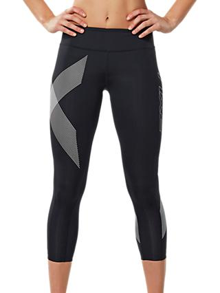 2XU Reflective Compression Mid-Rise 7/8 Training Tights, Black/White
