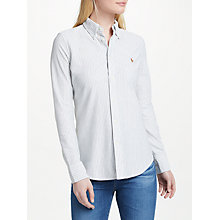 Buy Polo Ralph Lauren Striped Knit Oxford Shirt, Heather/White Online at johnlewis.com