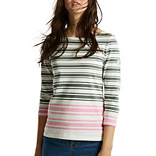 Buy Joules Harbour Block Stripe 3/4 Sleeve Jersey Top, Laurel Pink Stripe Online at johnlewis.com