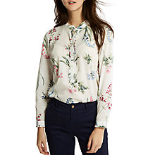 Buy Joules Georgina Ruffle Collar Pop Over Shirt, Cream Botanical Print Online at johnlewis.com