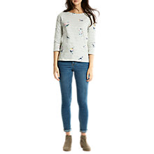 Buy Joules Harbour 3/4 Sleeve Printed Jersey Top, Laurel Bird Stripe Online at johnlewis.com