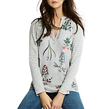 Buy Joules Beatrice Woven Front Jersey Top, Silver Botanical Print Online at johnlewis.com