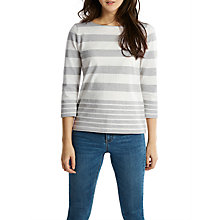 Buy Joules Harbour 3/4 Sleeve Printed Jersey Top, Grey White Stripe Online at johnlewis.com