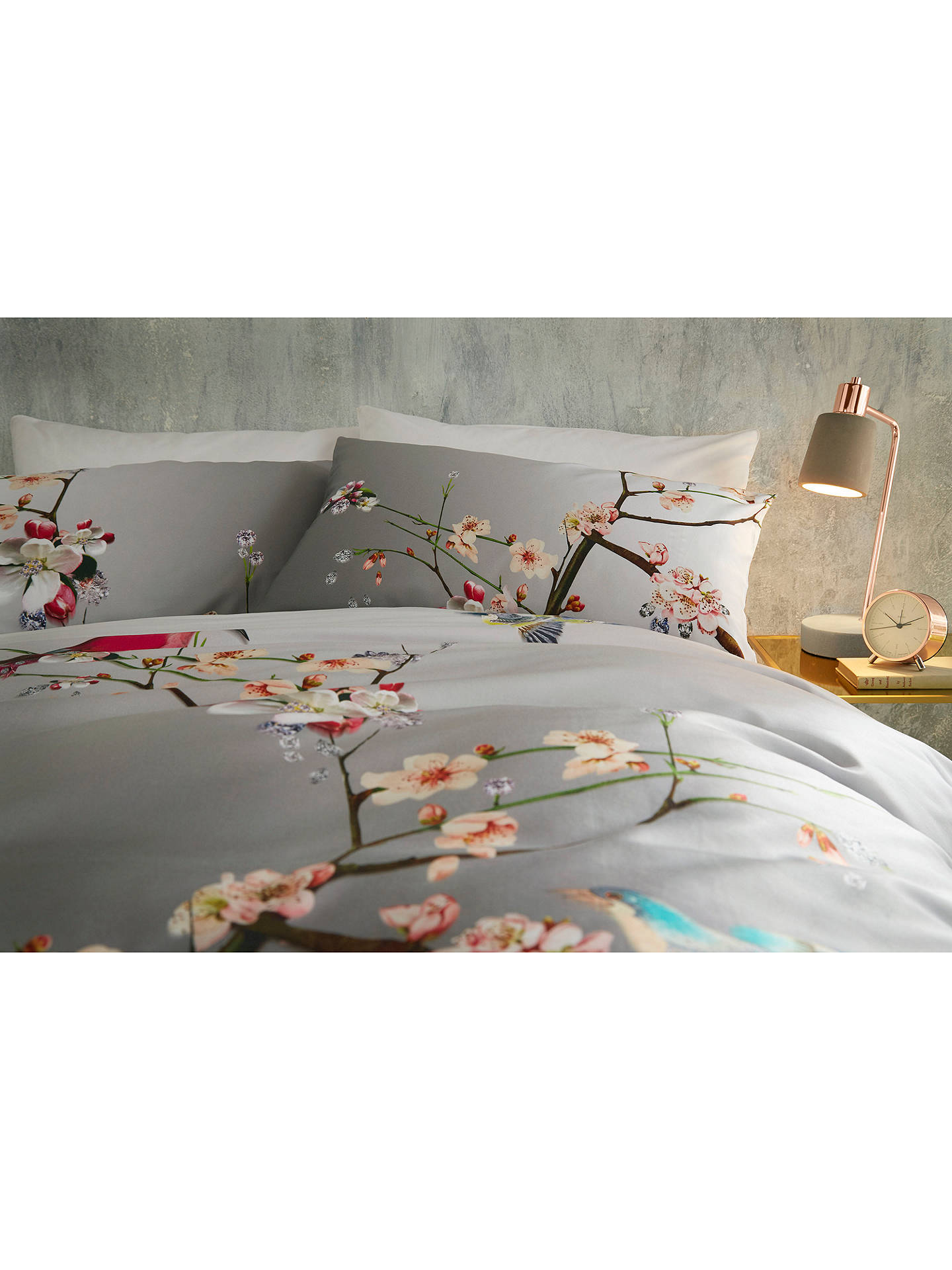 BuyTed Baker Flight of the Orient Cotton Standard Pillowcase, Pair, Grey Online at johnlewis.com