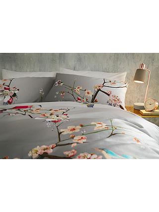 Buy Ted Baker Flight of the Orient Cotton Standard Pillowcase, Pair, Grey Online at johnlewis.com