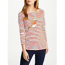 Buy Boden Christmas Breton Top, Ivory/Post Box Red Robin Online at johnlewis.com