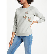 Buy Boden Make A Statement Sweatshirt, Grey/Christmas Birds Online at johnlewis.com