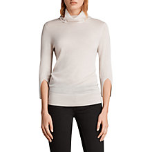 Buy AllSaints White Raven Cashmere Funnel Neck Top, Alabaster Online at johnlewis.com