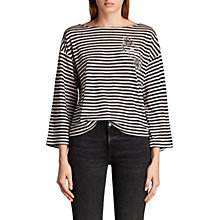 Buy AllSaints Nova Fave T-Shirt, Black/Chalk Online at johnlewis.com