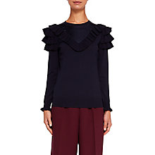 Buy Ted Baker Hellgar Satin Contrast Ruffle Jumper, Blue Online at johnlewis.com