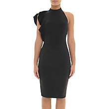 Buy Adrianna Papell Ruffle Halter Neck Crepe Dress, Black Online at johnlewis.com