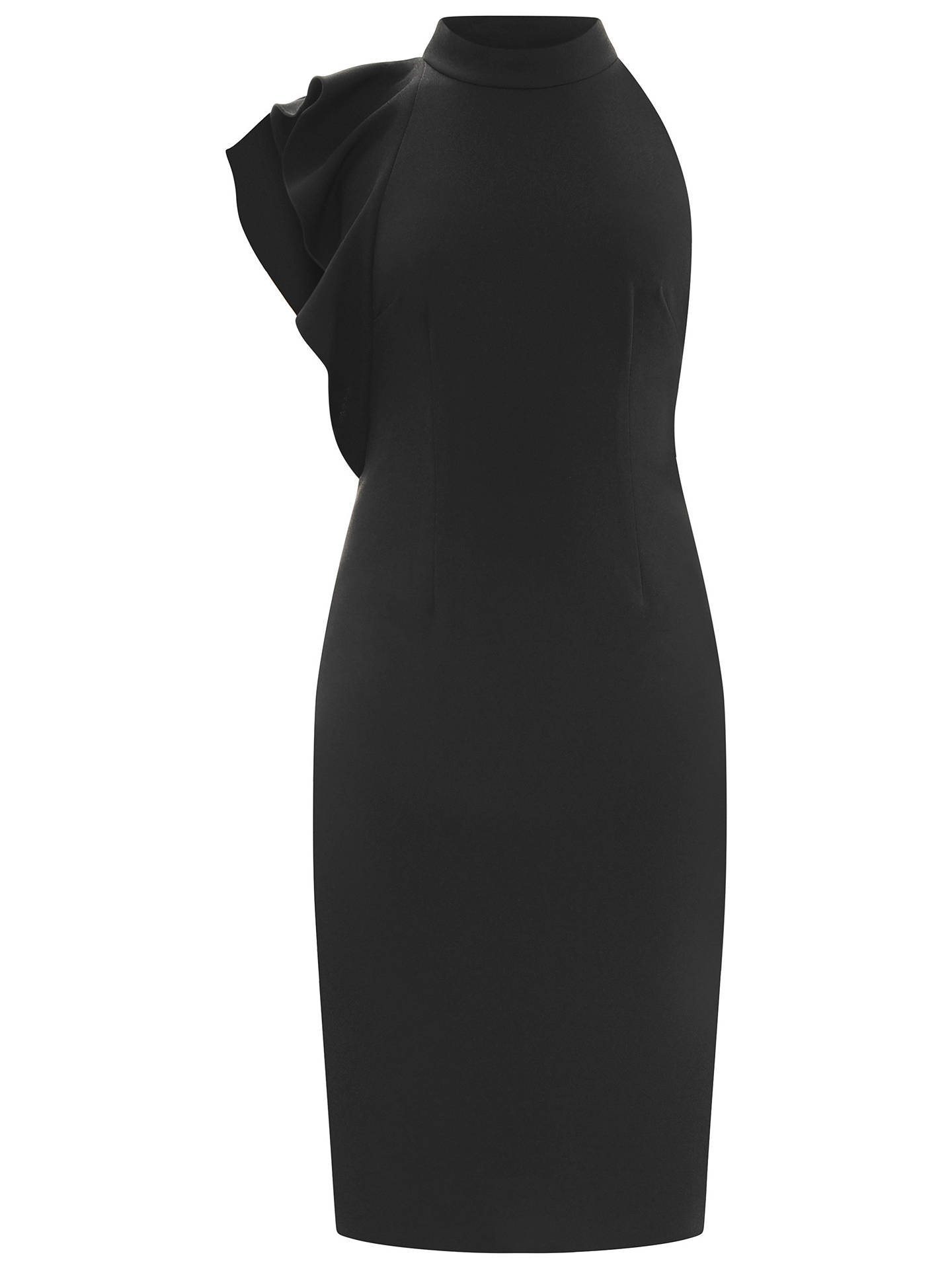Buy Adrianna Papell Ruffle Halter Neck Crepe Dress, Black, 6 Online at johnlewis.com