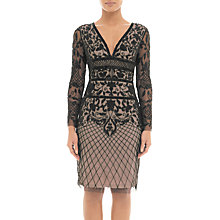 Buy Adrianna Papell Beaded Tulle Overlay Cocktail Dress, Nude/Black Online at johnlewis.com