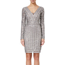 Buy Adrianna Papell Stud Beaded Sheath Dress, Platinum Online at johnlewis.com