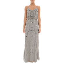 Buy Adrianna Papell Floral Beaded Blouson Dress, Platinum Online at johnlewis.com