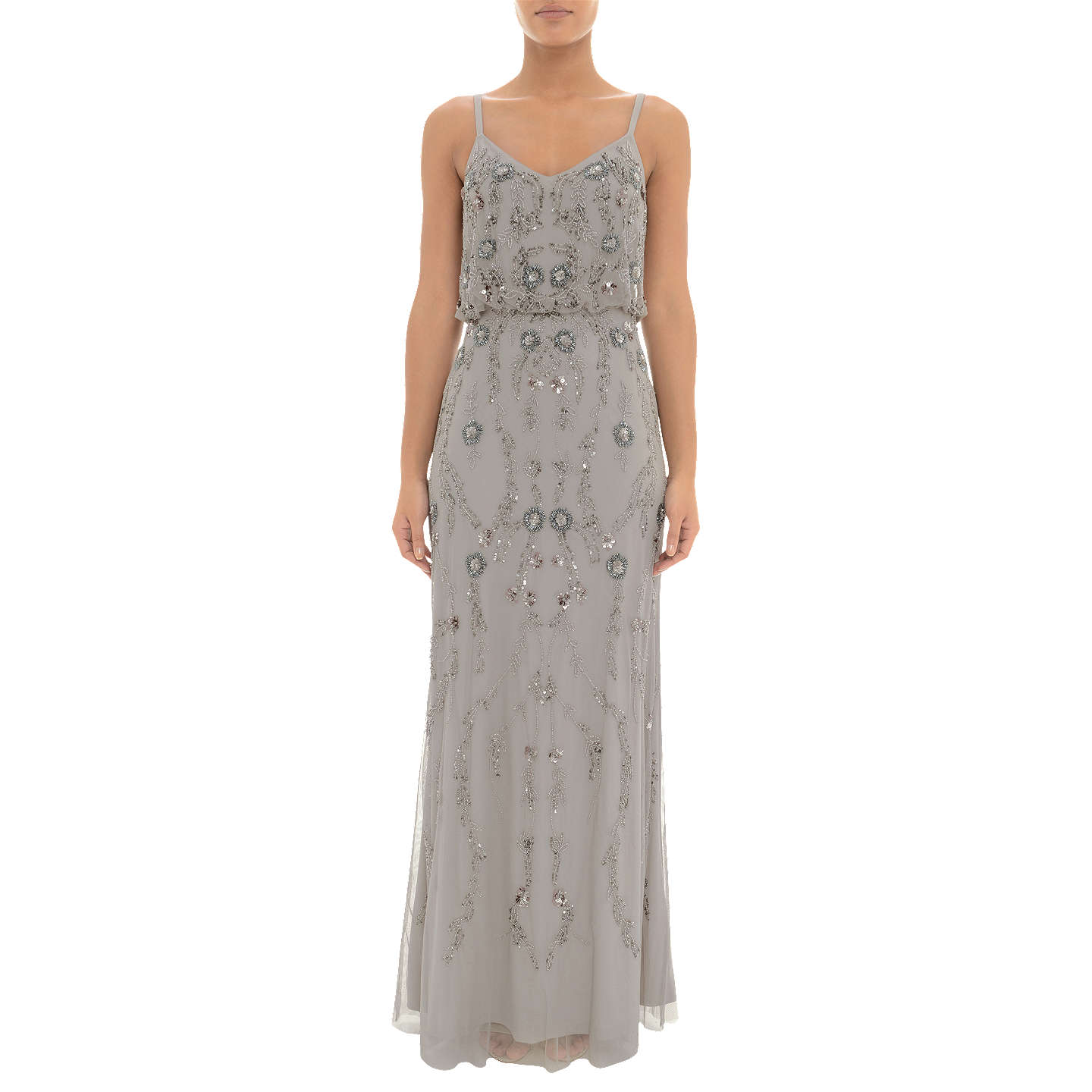 Adrianna Papell Floral Beaded Blouson Dress, Platinum at John Lewis