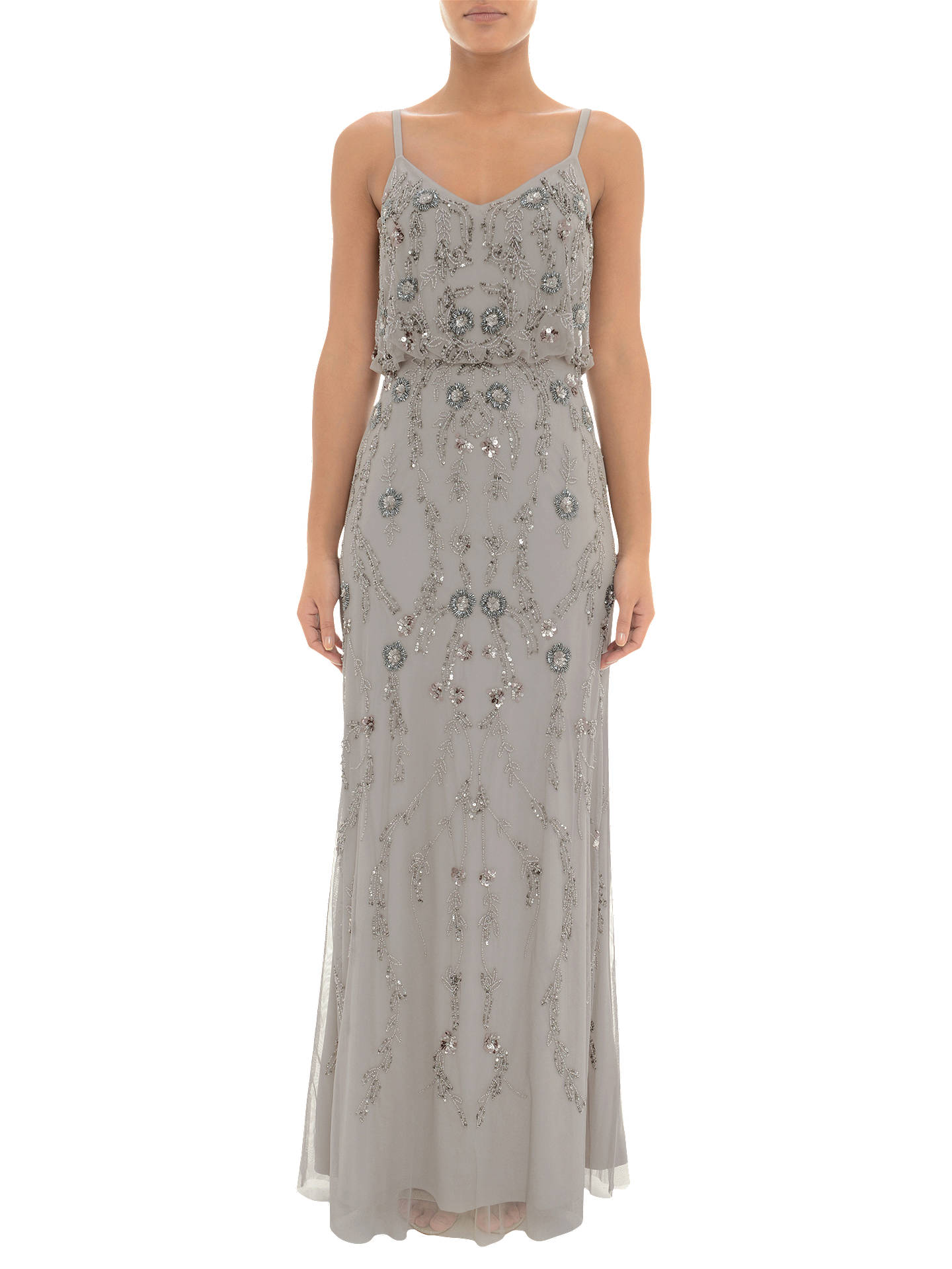 Adrianna Papell Floral Beaded Blouson Dress Platinum At John Lewis