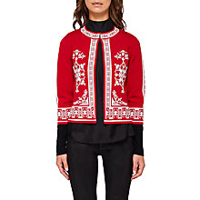 Buy Ted Baker Roiley Jacquard Cardigan, Red Online at johnlewis.com