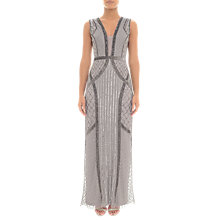 Buy Adrianna Papell Beaded Column Dress, Platinum Online at johnlewis.com