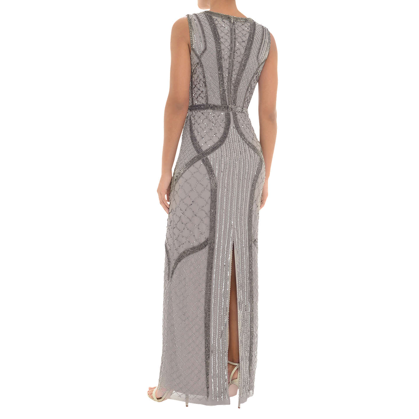 BuyAdrianna Papell Beaded Column Dress, Platinum, 8 Online at johnlewis.com