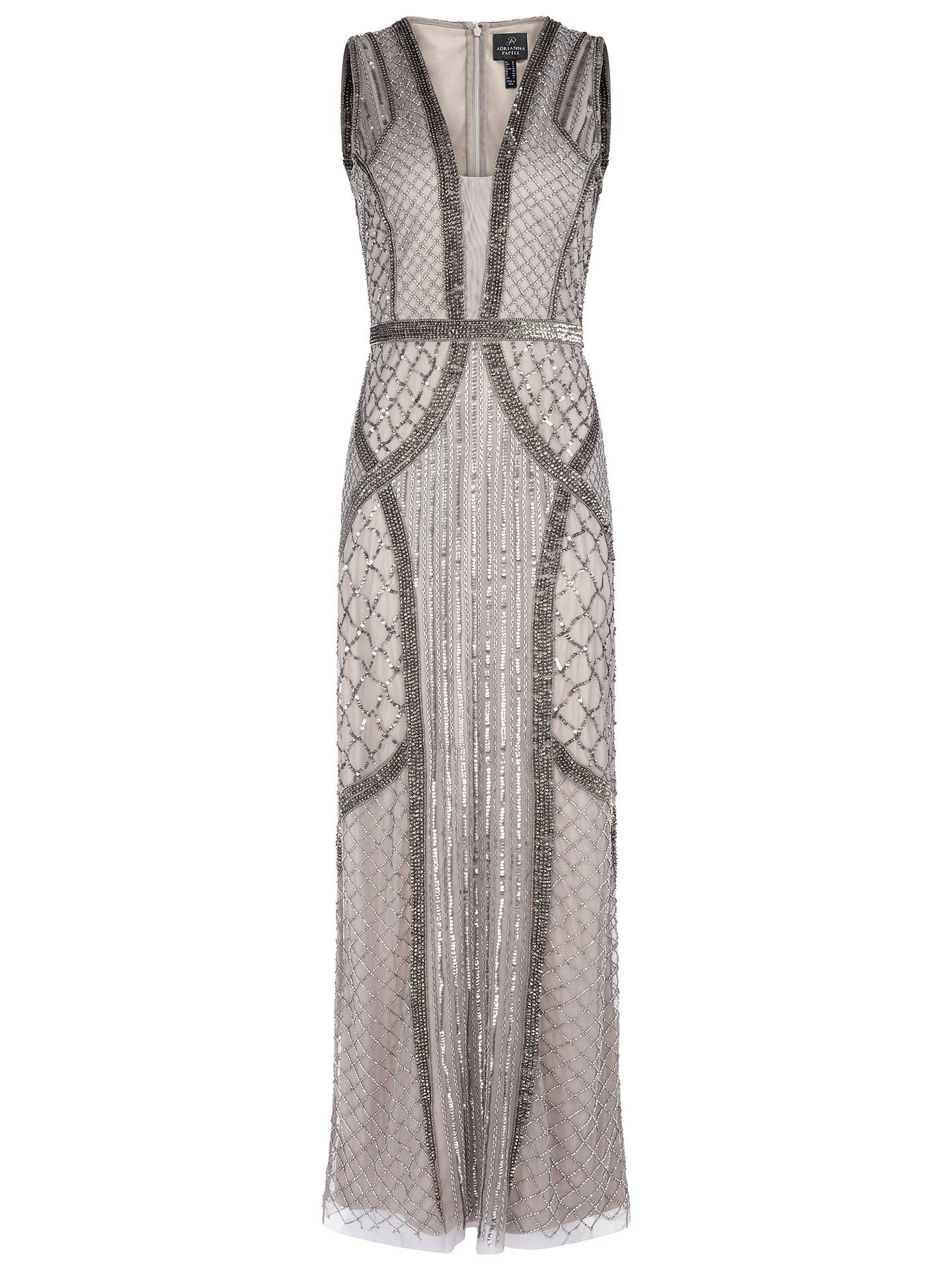 BuyAdrianna Papell Beaded Column Dress, Platinum, 6 Online at johnlewis.com