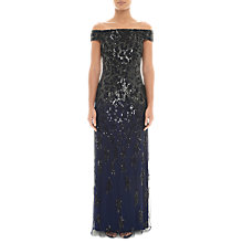 Buy Adrianna Papell Off Shoulder Sequin Gown, Navy/Black Online at johnlewis.com