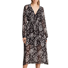 Buy AllSaints Nichola Kasuri Floral Print Dress, Washed Black Online at johnlewis.com