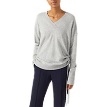 Buy Jigsaw Drawstring Side V-Neck Jumper, Grey Melange Online at johnlewis.com