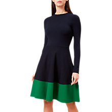 Buy Hobbs Macie Flared Dress, Navy/Apple Green Online at johnlewis.com