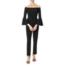 Buy Adrianna Papell Bell Sleeve Bardot Crepe Jumpsuit, Black Online at johnlewis.com