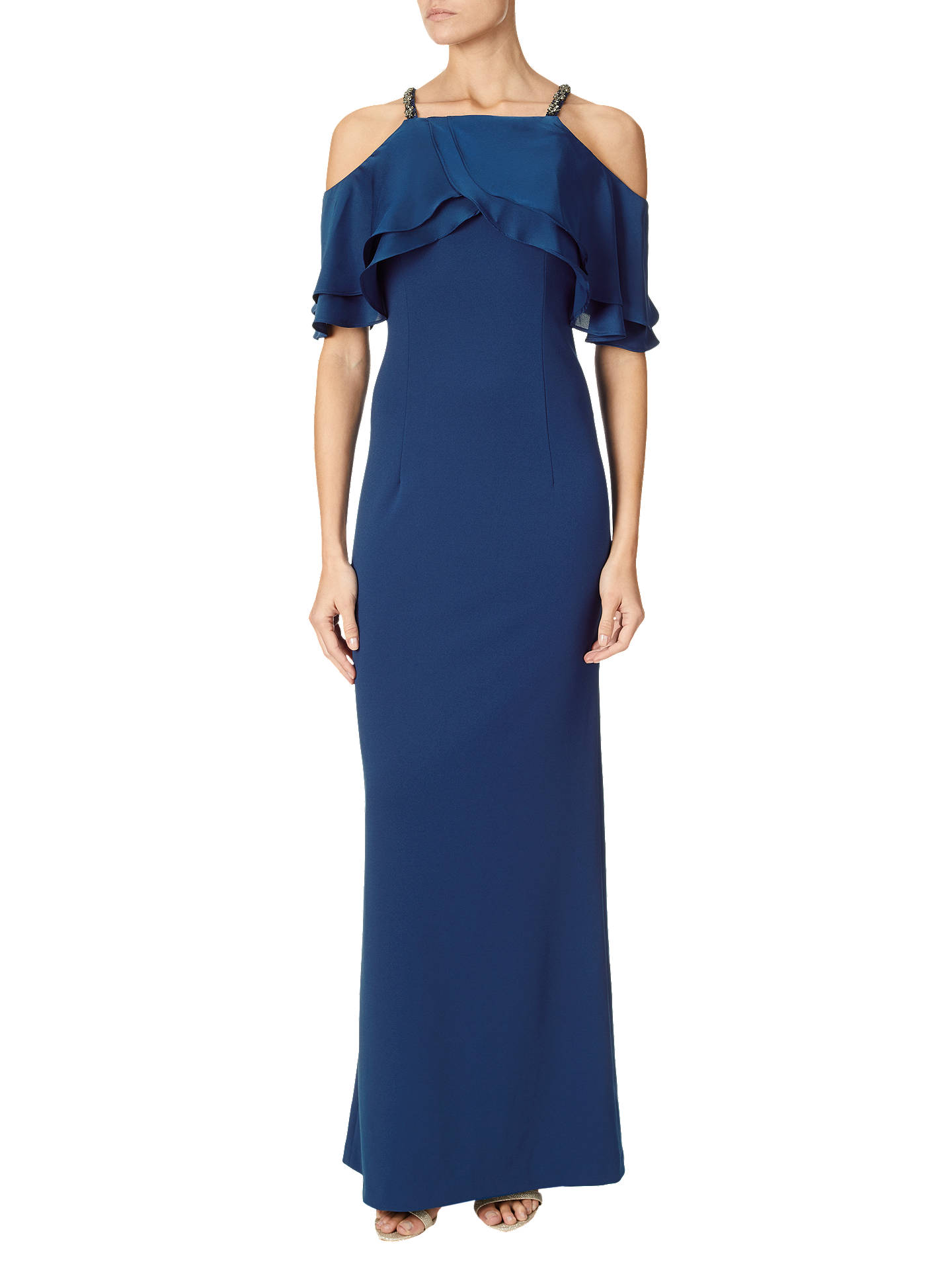 03b2b699 Adrianna Papell Cold Shoulder Popover Beaded Dress, Sapphire at John ...