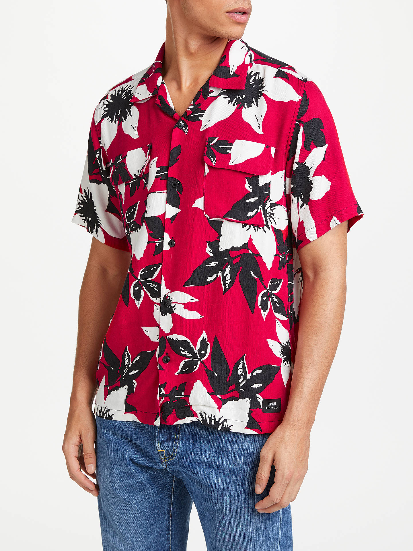 BuyEdwin Garage Floral Short Sleeve Shirt, Red, XL Online at johnlewis.com