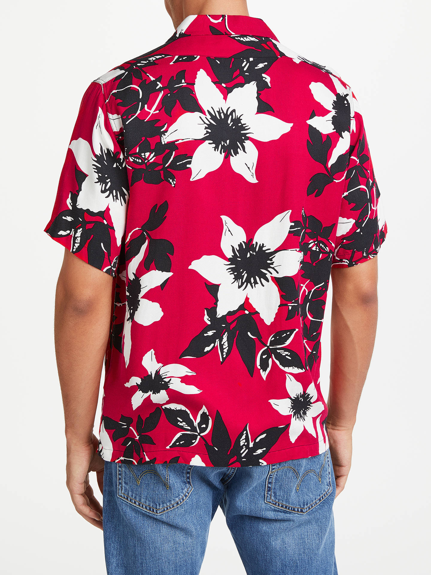 BuyEdwin Garage Floral Short Sleeve Shirt, Red, S Online at johnlewis.com