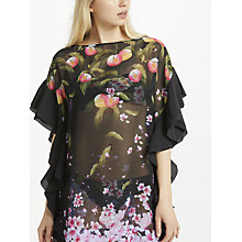 Buy Ted Baker Twisela Peach Blossom Ruffle Kaftan, Black/Multi Online at johnlewis.com
