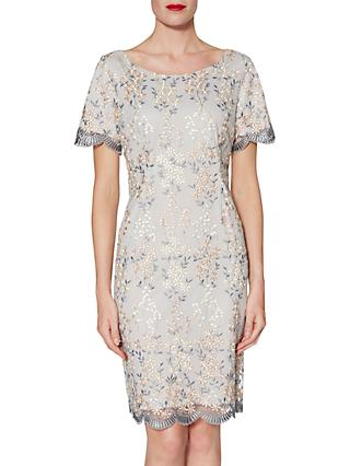 Gina Bacconi Janice Embroidered Dress, Beige