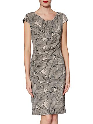 Gina Bacconi Thea Leaf Dress, Beige/Black