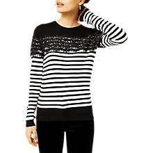 Buy Warehouse Striped Lace Embellished Jumper, Mono Online at johnlewis.com