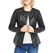Buy Oasis Leather Collarless Jacket, Black Online at johnlewis.com