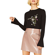 Buy Oasis Snowdrop Placement Bell Sleeve Jumper, Black Online at johnlewis.com