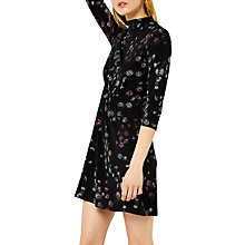 Buy Warehouse Daisy Print High Neck Dress, Black Online at johnlewis.com