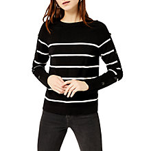 Buy Warehouse Striped Button Sleeve Jumper, Black Online at johnlewis.com