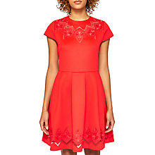Buy Ted Baker Cheskka Lace and Mesh Detail Skater Dress, Bright Red Online at johnlewis.com