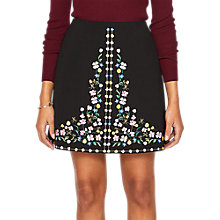Buy Ted Baker Hampton Embroidered Mini Skirt, Black/Multi Online at johnlewis.com